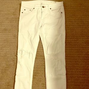 Rag & Bone raw hem white denim jeans Sz 27